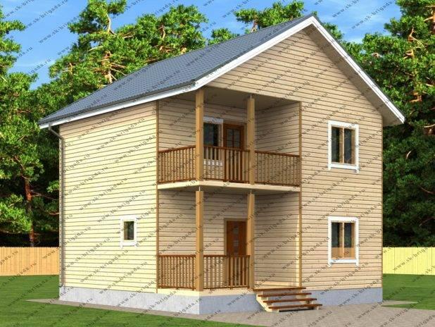 Проект двухэтажного дома из бруса 8х8 под ключ