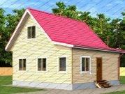 Дом из бруса 8х8 с верандой и туалетом