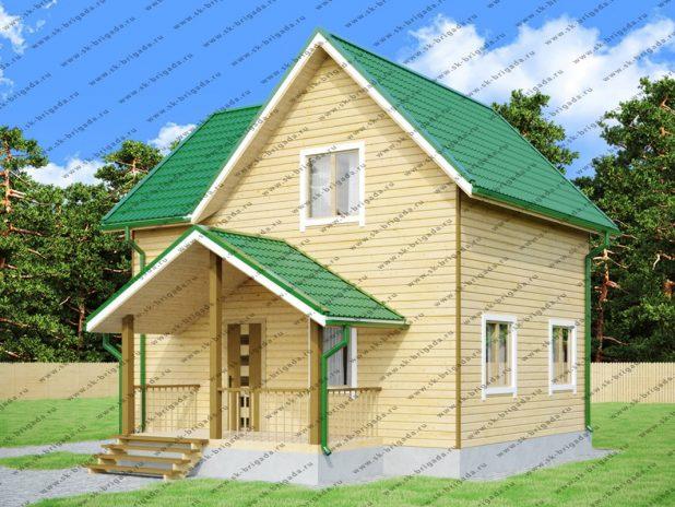 Брусовой дом 6х7 на 3 фронтона для дачи под ключ