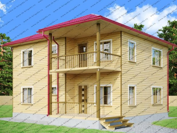Двухэтажный дом из бруса 9х10 под ключ