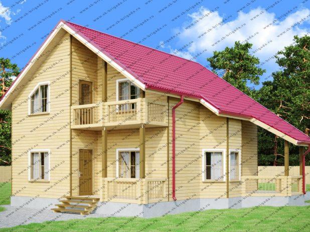 Проект дома с большими комнатами и двумя ванными под ключ