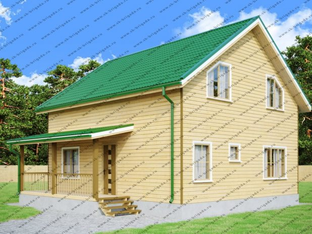Дом из бруса 8х9 с котельной и террасой под ключ