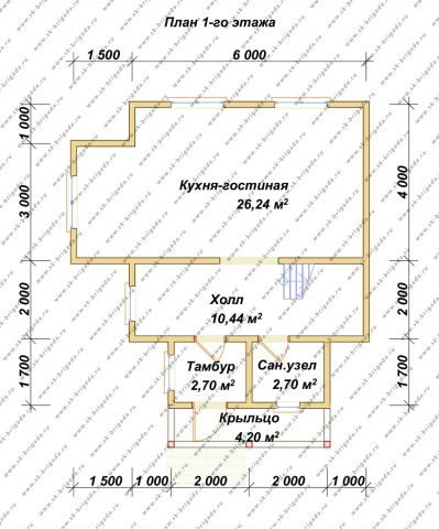 Планировка 1 этажа 7,5х7,5 метров