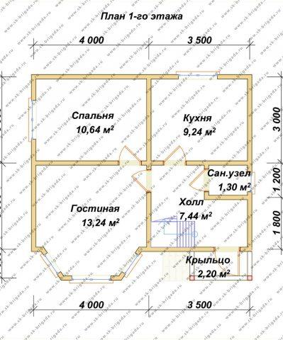 Планировка 1 этажа 7х7,5 метров