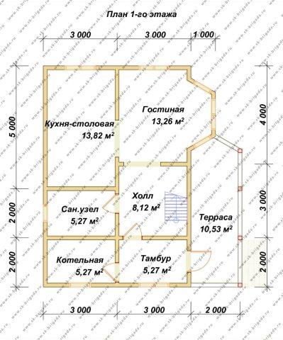 Планировка 1 этажа 6х9 метров
