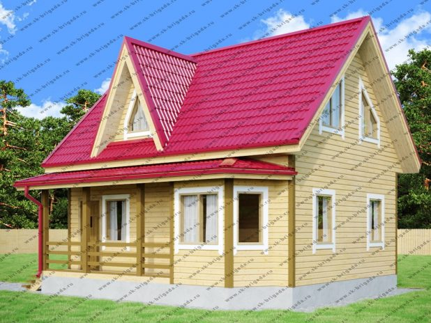 Дом из профилированного бруса 6х8 с кукушкой под ключ