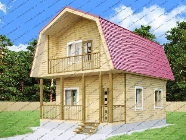 Дом 6 на 8 из бруса с террасой и балконом под ключ
