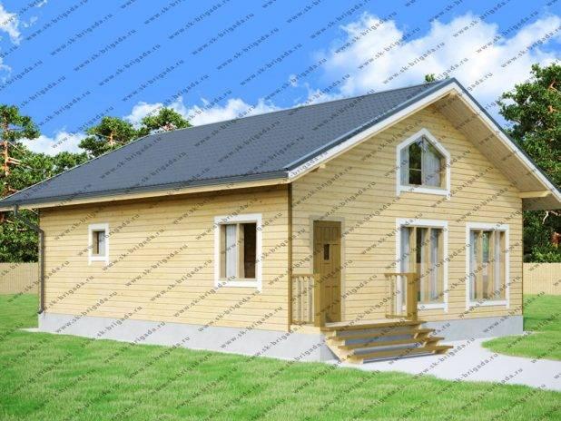 Проект одноэтажного дома 8х10 из бруса с баней под ключ