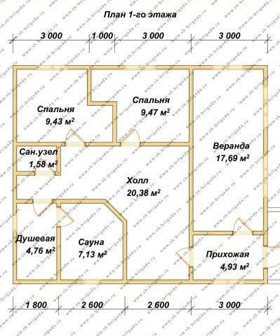 Планировка 1 этажа 8,6х10 метров
