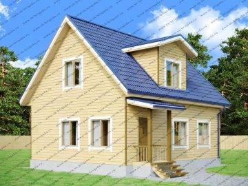 Одноэтажный дом из бруса 7 на 9 с мансардной крышей