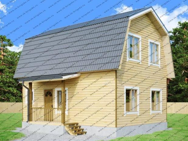 Деревянный дом 7х8 из бруса с ломаной крышей под ключ