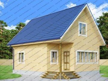 Деревянный дом 7х9 с мансардой