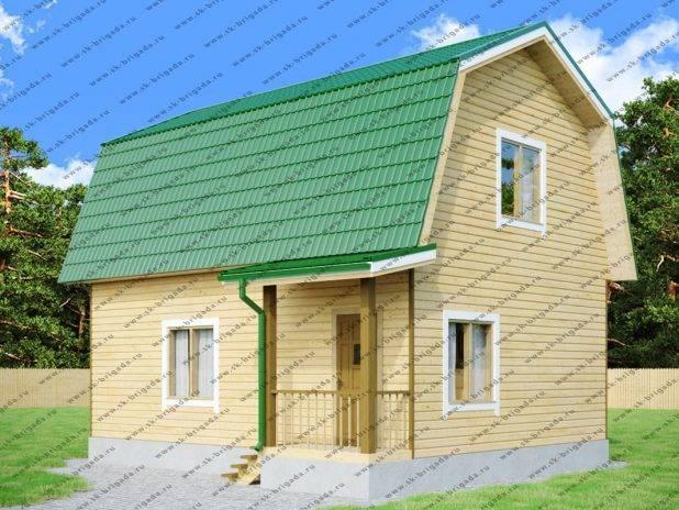 Проект одноэтажного дома 7х8 из бруса с ломаной крышей под ключ