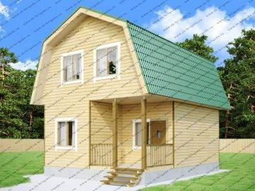 Одноэтажный деревянный дом 6 на 8 с мансардой