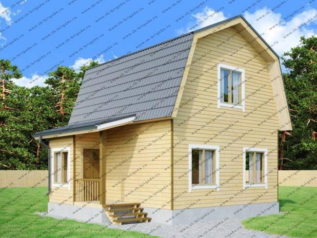 Одноэтажный дом 6 на 7 из бруса с ломаной крышей под ключ