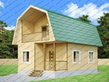 Дом 6х9 с ломаной крышей из бруса