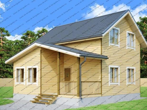Проект дома 8 на 8 с верандой и террасой под ключ