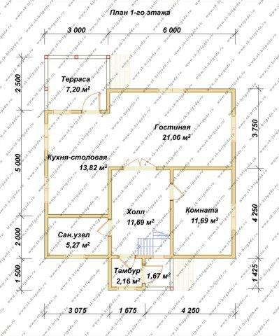 Планировка 1 этажа 9х9,5 метров