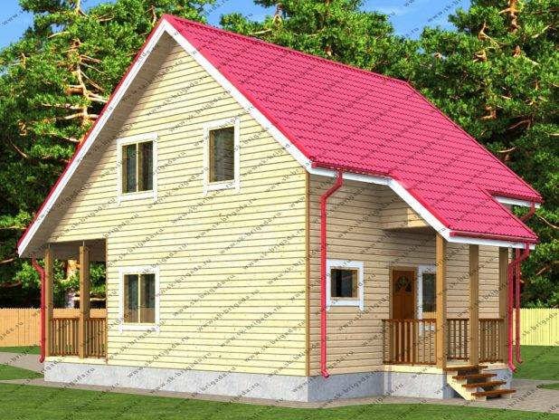 Проект дома из бруса 7,5х8 под ключ