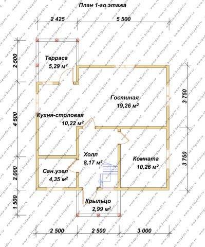 Планировка 1 этажа 7,5х8 метров