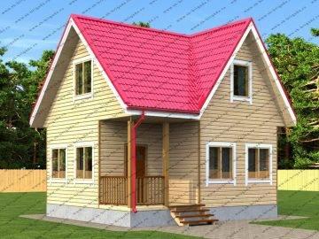 Одноэтажный дом 6х7 с мансардной крышей