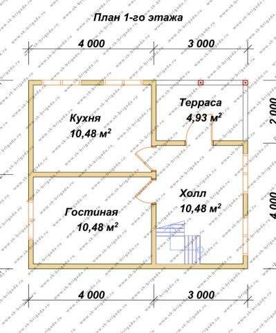 Планировка 1 этажа 6х7 метров