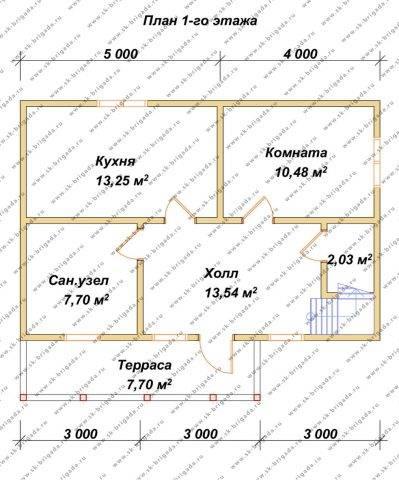 Планировка 1 этажа 7,5х9 метров