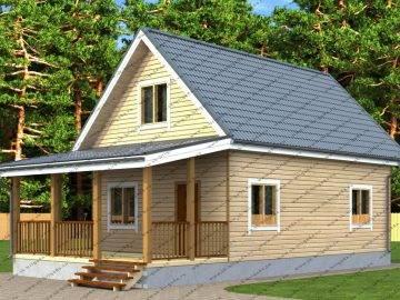 Проект дома из бруса 6х12 с мансардной крышей