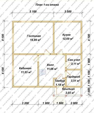 Планировка 1 этажа 8,2х8,6 метров