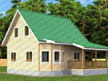 Проект дома из бруса 7 на 8 с мансардой