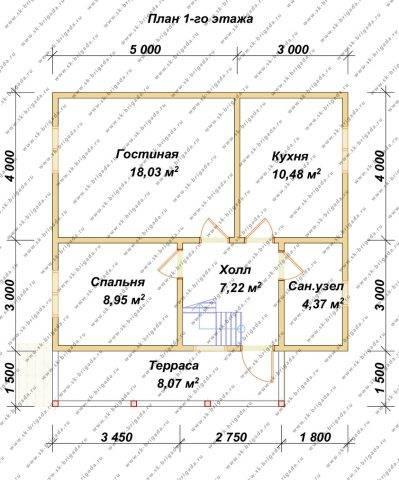 Планировка 1 этажа 7х8 метров