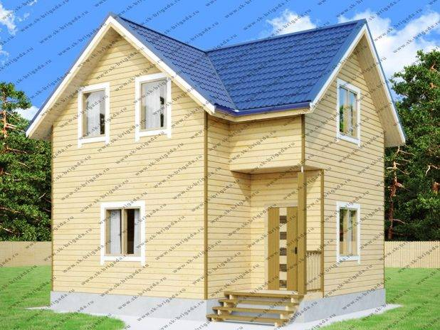Проект дома 8х7 из бруса с верандой под ключ