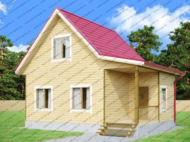 Одноэтажный дом 6 на 8 из бруса с мансардой под ключ
