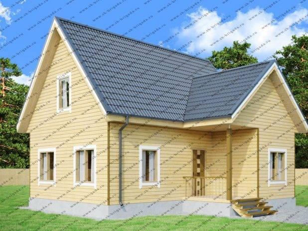 Одноэтажный дом из бруса 8х9 с мансардной крышей под ключ