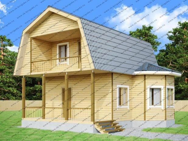 Дом из бруса 6х8 с ломаной крышей и эркером под ключ