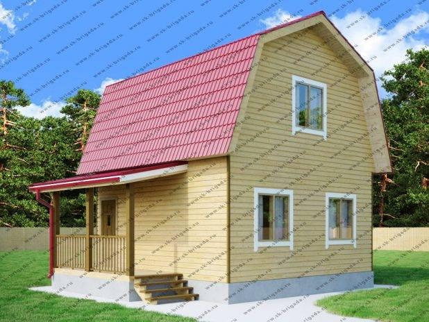 Дом из бруса 6 на 6 с ломаной крышей под ключ