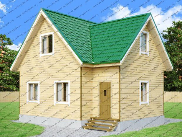 Одноэтажный дом 8х8 из бруса с мансардной крышей под ключ