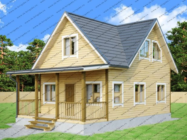 Деревянный дом 6х8 из бруса с верандой под ключ