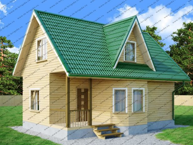 Дачный дом 6х9 из бруса с мансардой под ключ