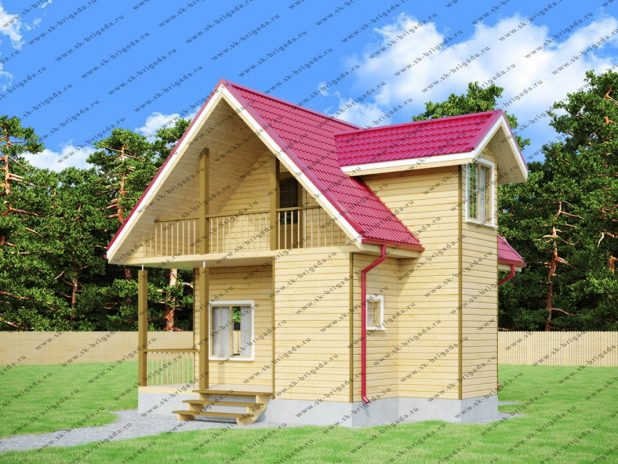 Дом из профилированного бруса 6 на 7 с террасой под ключ