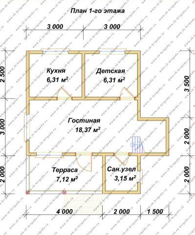 Планировка 1 этажа 6х7,5 метров