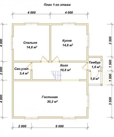 Планировка 1 этажа 8х9 метров