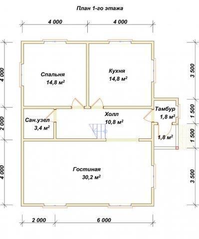 Планировка 1 этажа 8х10 метров