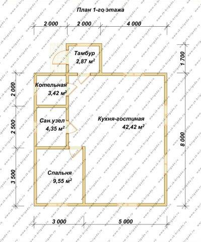 Планировка 1 этажа 8х8 метров