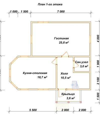 Планировка 1 этажа 8х9,5 метров