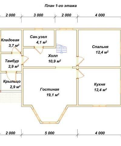 Планировка 1 этажа 8,5х11 метров