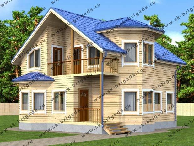 Проект двухэтажного дома с эркером и балконом под ключ