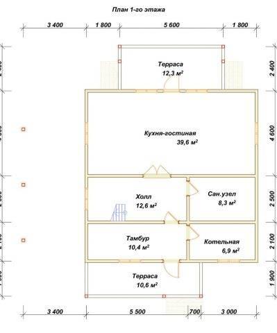 Планировка 1 этажа 9х9 метров