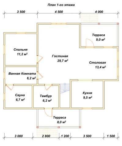 Планировка 1 этажа 9х12 метров