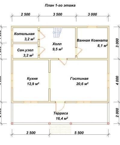 Планировка 1 этажа 7х9 метров